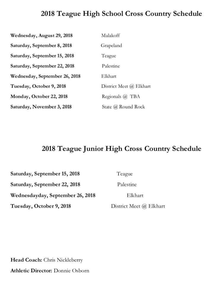 Teague cross country