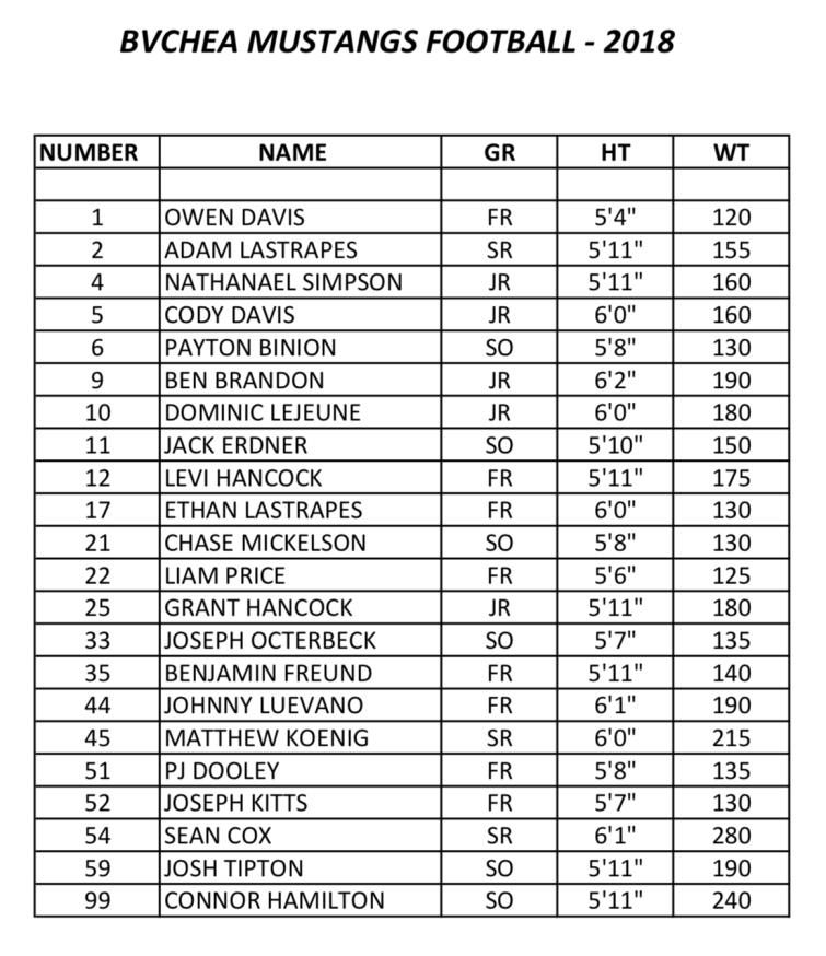 BVCHEA football roster