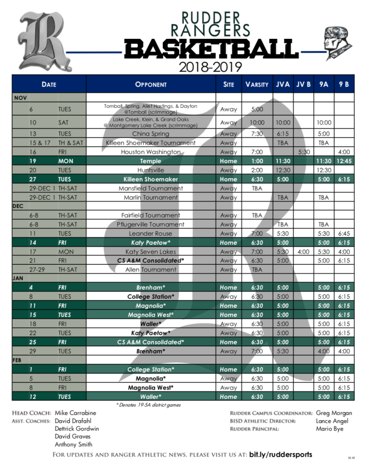 Rudder boys basketball